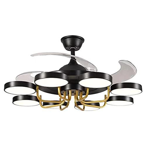 Invisible Ventilador De Techo Luz 42 '' con Lámpara Velocidad Viento Intensidad Regulable Temporizador Mando A Distancia Función Inversa para Sala De Estar (Color : Black)