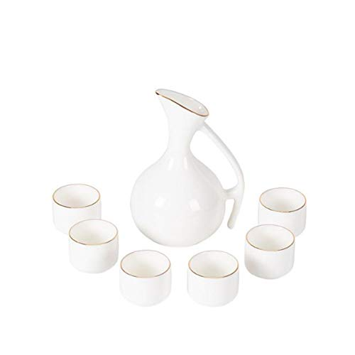 Juego de vino chino, vaso de cerámica, taza de sake, vaso de cerámica, petaca de hipopa, set de vino de hogar, blanco