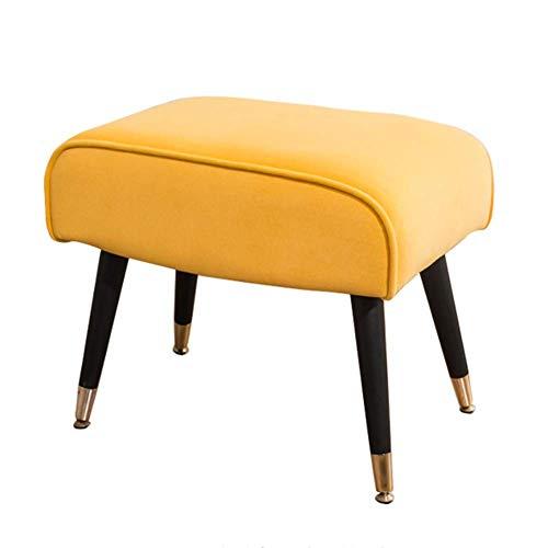 FSYGZJ Taburete para pies Taburete para sofá Tocador Taburete otomano Descanso para el hogar Banco de Zapatos Sencillo Moderno 360 & deg;Ajustable, 9 Colores (Color: Amarillo, Tamaño: 52X33X45CM)
