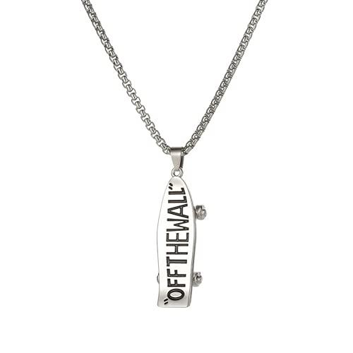 Collar personalizado, collar con colgante de viento punk, colgante de monopatín, calidad de acero inoxidable, se puede utilizar como regalo