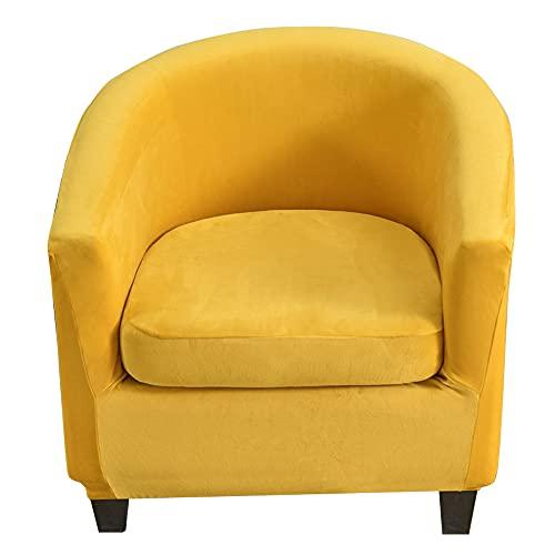 C/N Fundas para sillas Chesterfield Fundas para sillas de Club tullsta elásticas de 2 Piezas Fundas de Terciopelo para sofá1 Plaza Amarillo