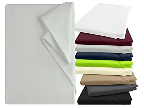npluseins Bettlaken - 100% Baumwolle - in 9 Farben - in 3 verschiedenen Größen - Haushaltstuch ohne Spanngummi, ca. 150 x 250 cm, Silber