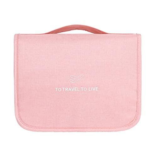WFLY Neceser de Viaje de Gran Capacidad,Bolsa de Maquillaje cosmética Impermeable portátil para artículos de Aseo,cosméticos,Accesorios de higiene (Color : Pink)