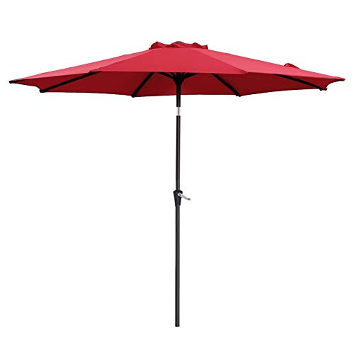 SONGMICS 9 ft Patio Umbrella, Outdoor Table Umbrella, Sun Shade, Octagonal Polyester Canopy, with Tilt and Crank Mechanism - for Gardens, Balcony and Terrace Red UGPU09RDV1