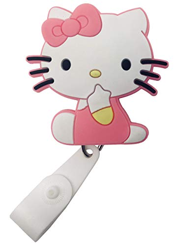 Cartoon Retractable Badge Reel - Holder for ID and Name Tag with Belt Clip, Great Gift for Nurse and Medical Workers, Cute ID Holders for Nursing School Student, RN, or CNA (Hello Kitty)