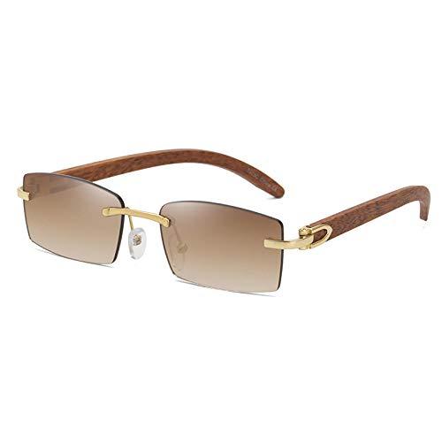 DLSM Fashion Squareless Rimless Classic Mascule Sunglasses de Sol de Madera rectángulo oceánico pequeño Lente Masculino UV400 Gafas de conducción-C02 Dorado marrón