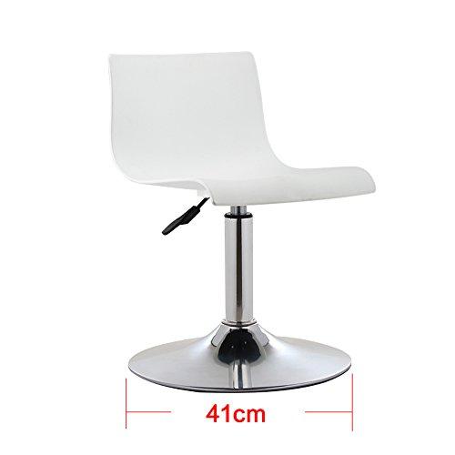 Tabouret haut simple moderne à la maison, chaise haute de barre européenne, chaise d'ascenseur de dossier, tabouret de bar (Couleur : Blanc, taille : 41*(60-76) cm)