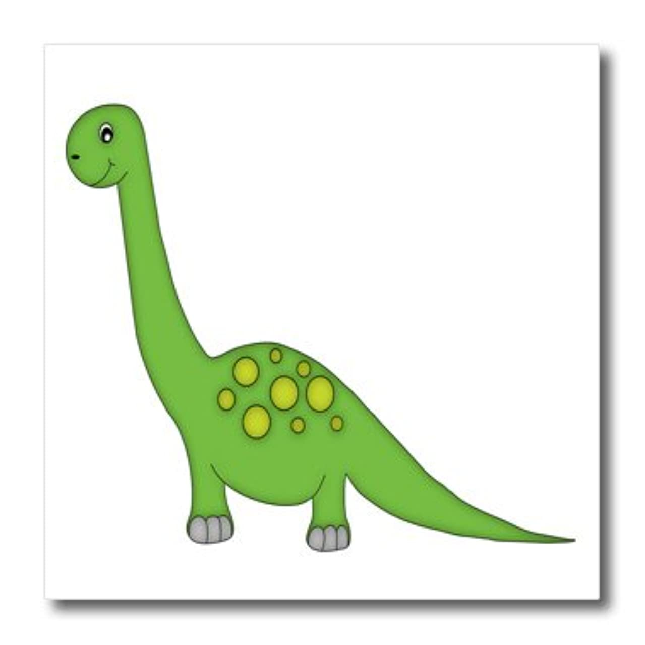 3dRose Cute Green and Yellow Standing Dinosaur-Iron on Heat Transfer, 10 by 10