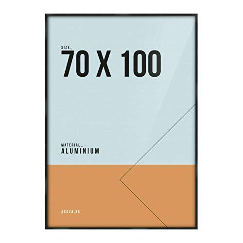 Acaza Cadre Photo Noir Aluminium 70x100 cm, Encadrement pour Affiche ou Poster Grand Format. avec Verre Plexi 1mm. Profil 9x21mm