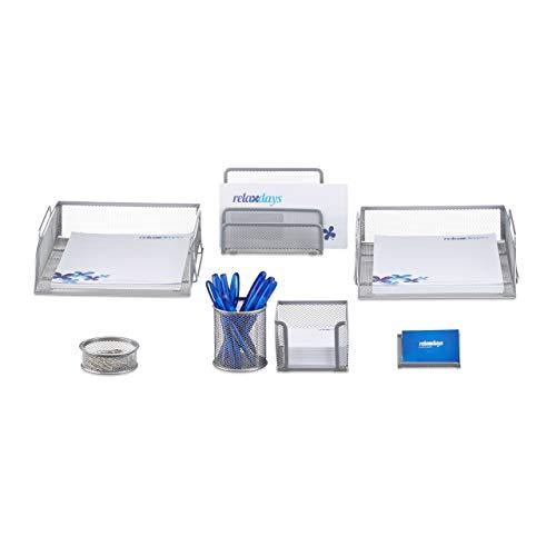 Relaxdays Schreibtisch Organizer Set, 7-teilig, Metall, Schreibtisch-Set, Briefablage, Zettelbox, Stifteköcher, silber