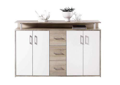 AVANTI TRENDSTORE - Comó in quercia Sonoma / bianco d'imitazione, con 1 ripiano aperto, 3 cassetti e 4 ante a battente. Dimensioni: LAP 139x90x34 cm