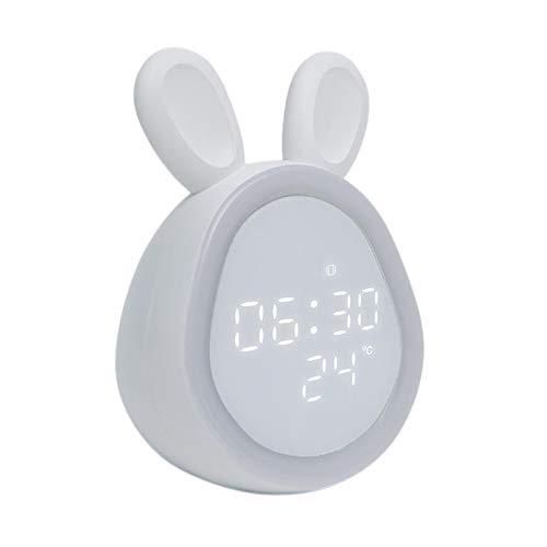 Generic Kinder Alarm Uhr, Kinder Alarm Uhren für Mädchen Jungen Schlafzimmer, Nacht Licht für Kinder, 6 klingeltöne, Touch Control Wiederaufladbare Kid Alarm - Weiß