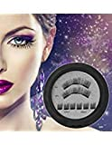 NO Glue 3D Magnetic Eyelashes REUSABLE 3-Magnets False Full Size Lightweight Natural Look Magnet Lashes False Lash Extensions with false Lashes Applicator Tweezers No Allery (No. 2)