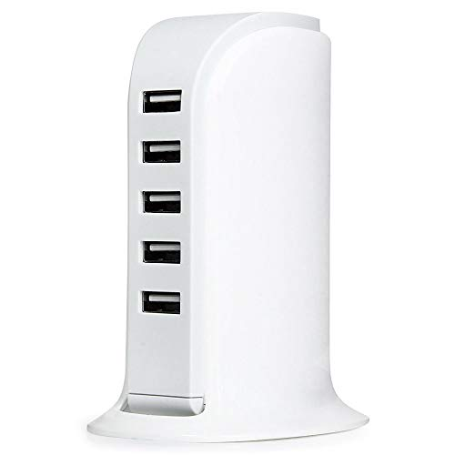 JUZIPI Cargador USB de 5 puertos, cargador rápido multipuerto USB, 5 A/30 W, adaptador de carga de alta velocidad, cargador de escritorio con enchufe vertical, enchufe de viaje USB