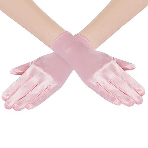 Coucoland Damen Handschuhe Satin Classic Opera Fest Party Audrey Hepburn Handschuhe 1920s Handschuhe Damen Lang Kurz Elastisch (Rosa/22cm)