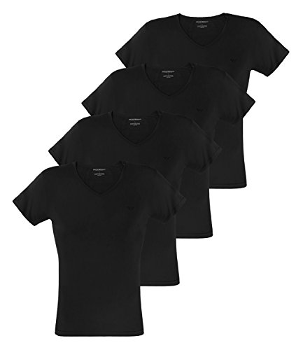 Emporio Armani Herren T-Shirts V-Neck Pure Cotton Kurzarm 111648-CC722 4er Pack, Farbe:Schwarz, Menge:4er Pack (2X 2er), Größe:L, Artikel:-07320 Black