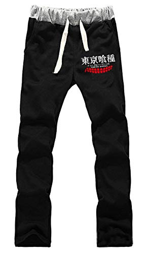 Gumstyle Tokyo Ghoul Anime - Pantalones de deporte con cintura elástica - Negro - L