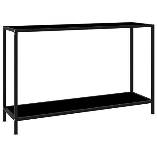 vidaXL Konsolentisch Flurtisch Konsole Beistelltisch Sideboard Wandtisch Frisiertisch Glastisch Deko Schwarz 120x35x75cm Hartglas Stahl
