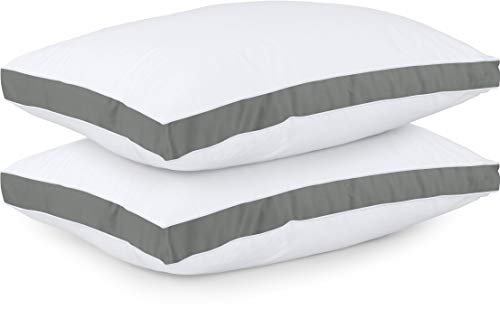 Utopia Bedding Gusseted Quilted Pillow (2-Pack) Premium Quality Bed Pillows - Side Back Sleepers - Grey Gusset - Queen - 18 x 26 Inches