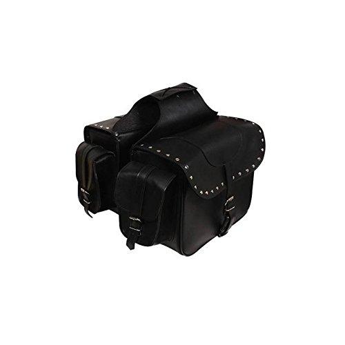 Alforjas Moto Custom de Cuero Sintetico. Color Negro. SD-9194
