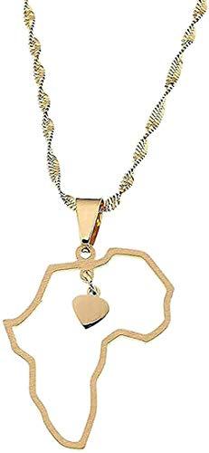 Collar de acero inoxidable de Color dorado, colgante de mapa de África, collares de mapa africano, dijes de corazón, joyería de neklace para mujer