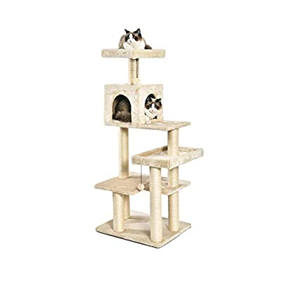 AmazonBasics Extra Large Cat Tree Tower with Condo - 24 x 56 x 19 Inches, Beige