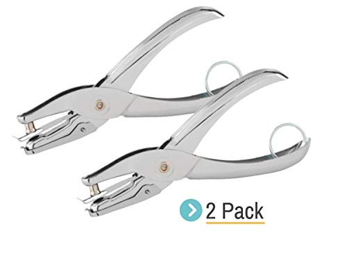 1InTheOffice Ticket 1Hole Puncher  Single Hole Punch  Metal Hole Punchers  One Hole Puncher Heavy Duty  5 Sheet Capacity Silver 2 Pack