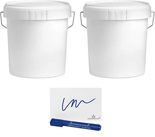 MARKESYSTEM - Cubo VACIO INDUSTRIAL Pack de 2 x 4,6 litros - Contenedores Hermeticos de Plástico con Tapa - Almacenaje de Sólidos, Líquidos y Pinturas - Polipropileno Blanco + Kit Etiquetado