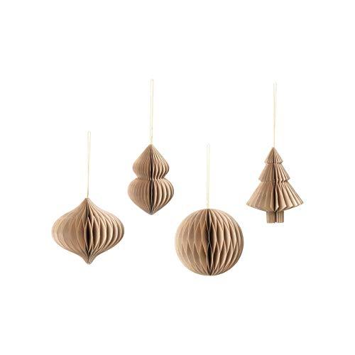 Christmas Mix Paper, 4-teiliges Anhänger-Set, faltbar Farbe Natural Brown