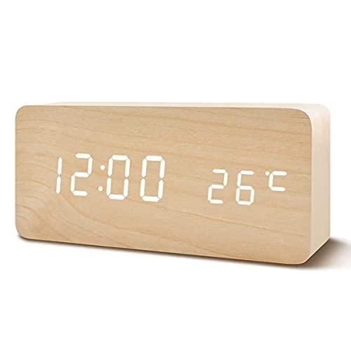 置き時計 置時計 デジタル おしゃれ 北欧 木目調LED アンティーク 時計 クロック 目覚まし時計 デジタル時計 アラーム時計 卓上 アラーム 日付 温度 木製 ウッド シンプル インテリア リビング 新築祝い (イエロー)…