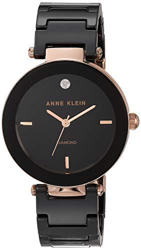 Anne Klein Women's AK/1018RGBK Diamond Dial Rose Gold-Tone Black Ceramic Bracelet Watch