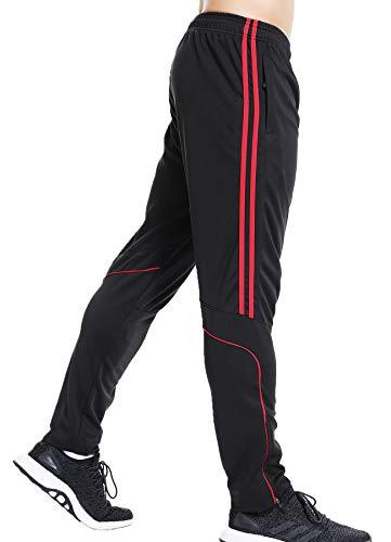 CROSS1946 Jogginghose Herren – Jogger Männer Modern Baumwolle Jungen Slim Fit Freizeithose Sporthose Training Trainingshose Stripe Pants Linie Rot L