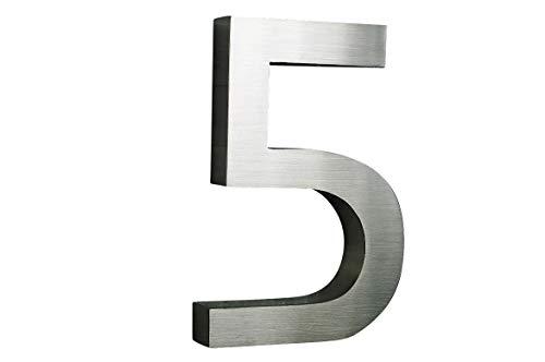 3D Hausnummer 5 Edelstahl ITC Bauhaus Design rostfrei witterungsbeständig 3D Effekt 20cm Höhe und 3cm Tiefe aus gebürstetem Edelstahl V2A ALLE erhältlich: 0,1,2,3,4,5,6,7,8,9,A,B,C,D,E