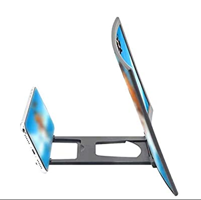 12'' Curved Screen Magnifier Cell Phone 3D HD Anti-Blue Light Amplifier Projector Screen Enlarger for Movies, Videos, and Gaming, Foldable Phone Stand Compatible with iPhone and Android All Cellphones from ambater