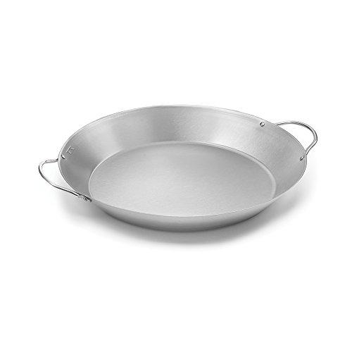 Outset Stainless Steel Paella Pan, 16.5 x 14 x 2 inches, Metallic