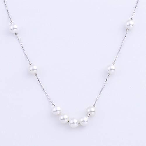 aolongwl Lot de 9 colliers en argent sterling 925 avec perles rondes blanches de 14 mm pour femme