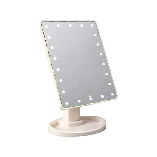 Lorenlli Espejo de maquillaje iluminado con luz LED y pantalla táctil desmontable 10X de aumento de espejo para encimera cosmética
