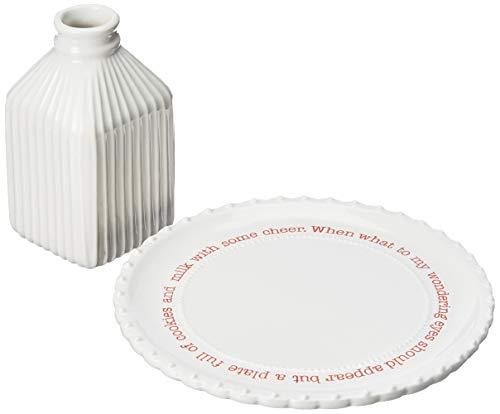 Mud Pie Farmhouse Inspired Santa Milk Cookie Plate Set, One Size, White/Red