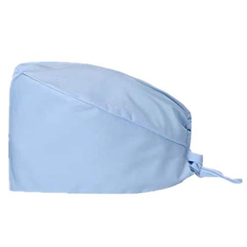 AILNT Cute Working Cap Sweatband Adjustable Tie Back Hats Adjustable Hat Pure Color for Men/Women (Sky Blue)