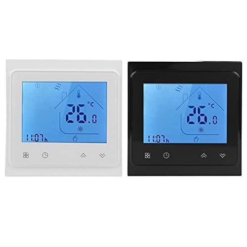 Termostato de voz inteligente Wifi 95-240V AC para uso de calefacción de caldera para pantalla táctil LCD Alexa, termostato temperatura de termostato inteligente(BLANCO)