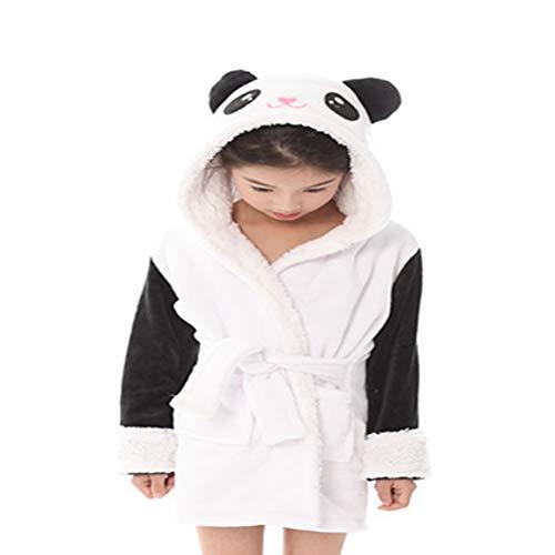 CAOLATOR Winter Kinder Bademantel Mädchen Panda Kinderbademantel Flanell Jungen Morgenmantel mit Kapuze