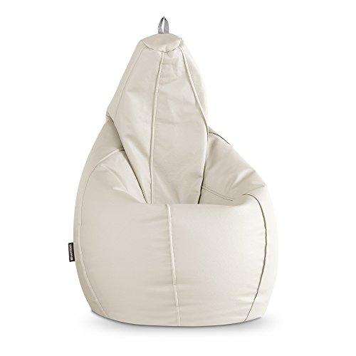 HAPPERS Puff Pera para Exterior en Polipiel Náutica Impermeable Blanco XL