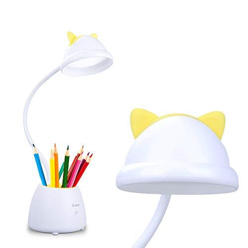 Neporal Led Schreibtischlampe Kinder,3 Helligkeit Touch Control Leselampe,Einstellbare Schwanenhals Eye Caring Nachttischlampe Kinder,Tischlampe für Kinder Studie Tisch (mit Stifthalter)