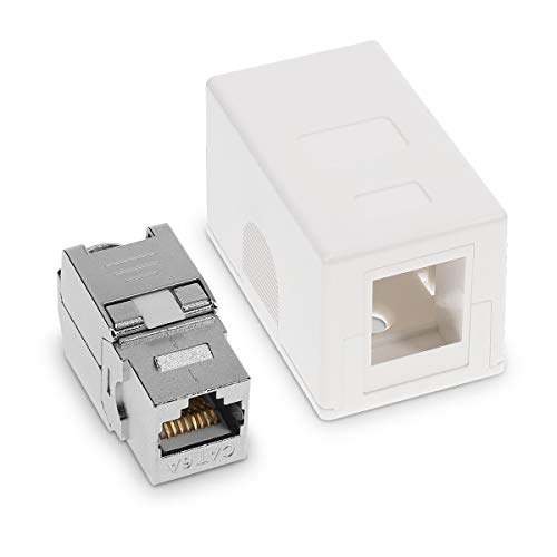 kwmobile Roseta RJ45 para Pared con 1 módulo Keystone - 1 Puerto Ethernet CAT6A - Caja de Red para Superficie - Conector blindado para Internet
