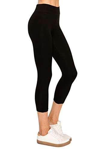 EttelLut Cotton Spandex Leggings for Women Gym Cotton Black S