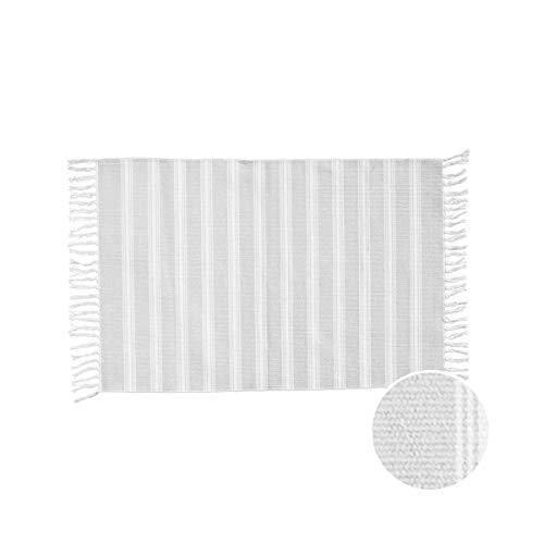 Butlers Silent Dancer Teppich gestreift 60x90 cm (grau-Weiss) Baumwolle - Handgewebt - Bedruckt