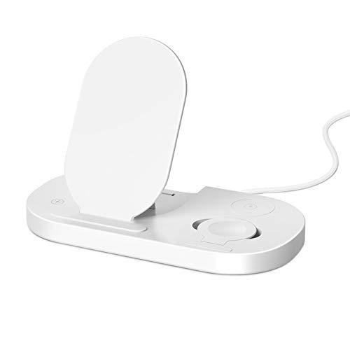 GUOYULIN Cargador Inalámbrico, 3 En 1 Wireless Charger Estación De Carga Inalámbrica con Certificación Qi para I Phone/I Watch/Airpods Pro,Blanco