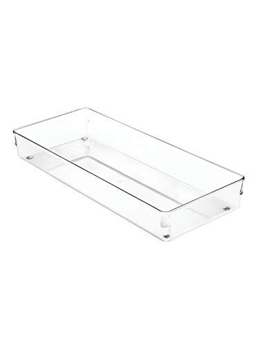 InterDesign Linus boite stockage pour tiroir, grande boite de classement pour accessoires, bac rangement plastique, Chrome, 15,2 x 38,1 x 5,1 cm