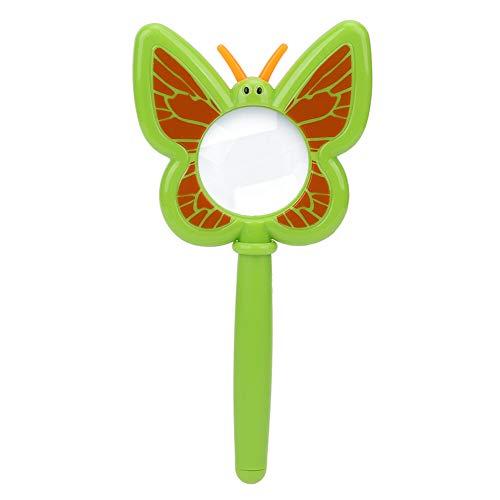 Tbest Cartoon Lupe, tragbare Kinder Explorer Spielzeug Insektenbeobachtung Lupe Lupe (Cartoon Schmetterling)(Grün)