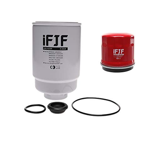 iFJF TP3018 Fuel Filter and 29539579 Spin-on Oil Filter Replacement for Duramax 6.6L 2001-2016 Chevy Silverado/GMC Sierra 2500HD Diesel Engine TP3012 29531007